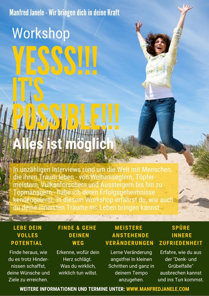 Workshop Flyer für Seminar YESSS!!! It's possible!!!